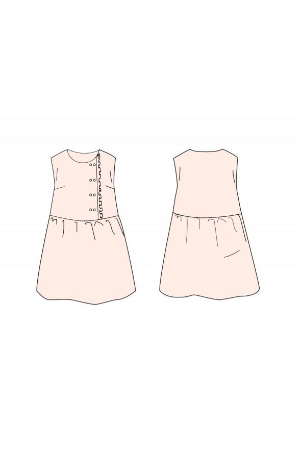 Robe Elona Mum de Ikatee cousue dans le crêpe de viscose Nude de Eglantine et Zoé