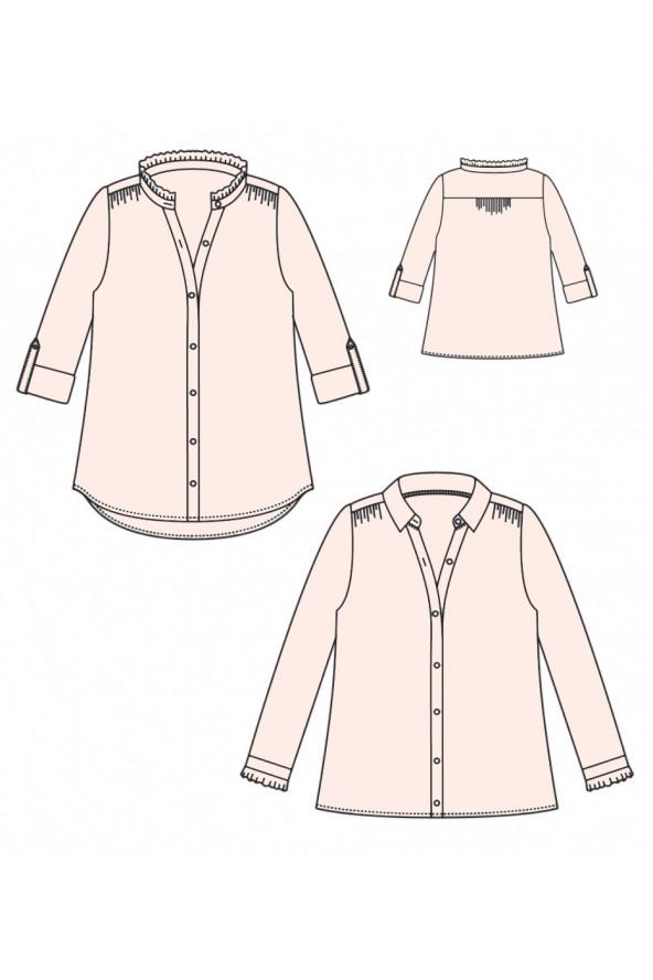 Chemise Azur de Atelier Scammit cousue dans le crêpe de viscose Nude de Eglantine et Zoé