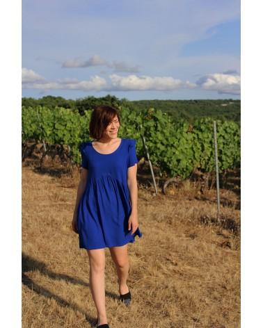 Robe à fronces cousue dans le crêpe de viscose Bleu Royal de Eglantine et Zoé