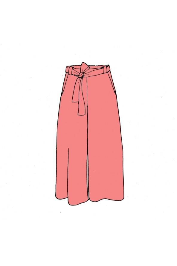 Pantalon fluide Aime comme Médina de  Aime comme Marie cousu dans le sergé de viscose Corail de Eglantine et Zoé