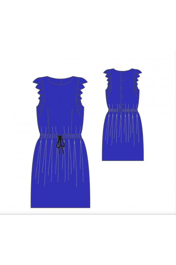 Robe Adèle de République du Chiffon cousue dans le crêpe de viscose Bleu Royal de Eglantine et Zoé
