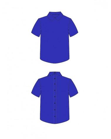 Chemise I am Juliette de I am patterns cousue dans le crêpe de viscose bleu royal de Eglantine et Zoé