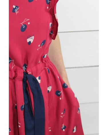 Tissu Stone Grenadine Sergé de Viscose Eglantine et Zoé détail ceinture contrastée robe Adèle
