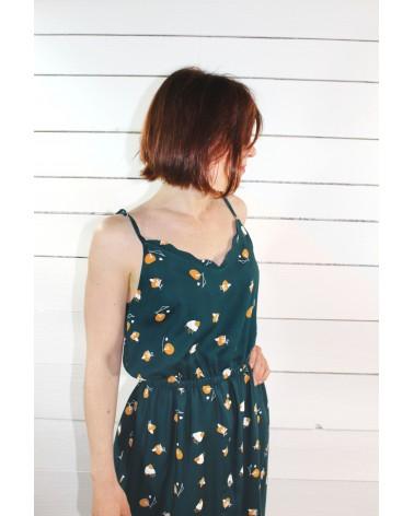 Tissu Stone Dark Lagune Sergé de Viscose Eglantine et Zoé robe longue inspirée de la combinaison  Fréja de Slow Sundae Paris