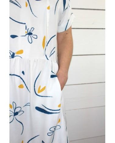 Tissu Bloom Nacre Sergé de Viscose Eglantine et Zoé association patron tissu robe guinguette cousette