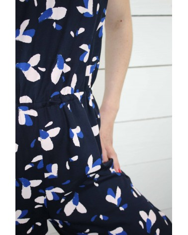 Tissu Pétali Bleu Marine Eglantine et Zoe Popeline de Viscose patron combinaison Freja Slow sunday Paris Ceinture elastique