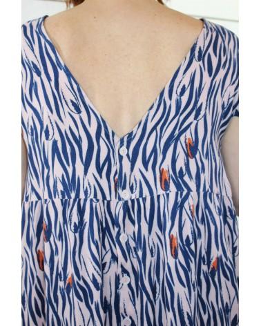 Tissu motif Zebra Rose Perle Eglantine et Zoe Crêpe de Viscose patron robe it miroir aime comme marie dos boutons duo