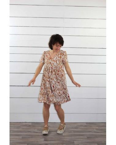 Tissu Zebra Nacre Crêpe de Viscose patron robe Ethel de Pm Patterns