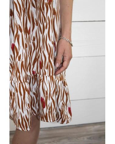 Tissu Zebra Nacre Crêpe de Viscose patron petite robe Ethel de Pm Patterns détails