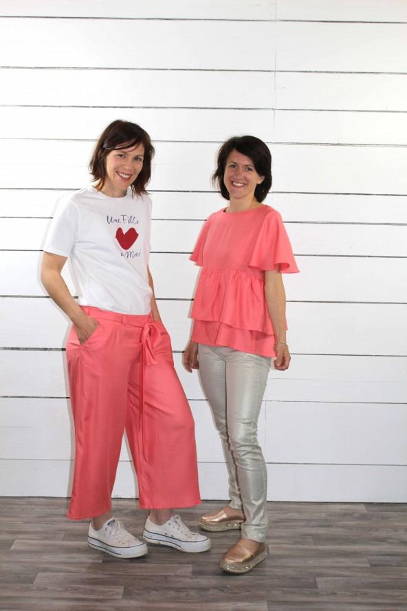 Tissu uni corail Eglantine et Zoe Sergé de Viscose patron top blouse Ethel de PM Patterns Pantalon Medina aime comme marie
