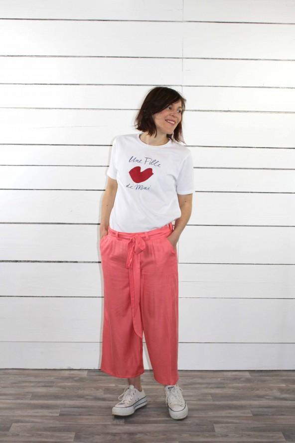 Tissu uni corail Eglantine et Zoe Sergé de Viscose patron pantalon medina short manege aime comme marie