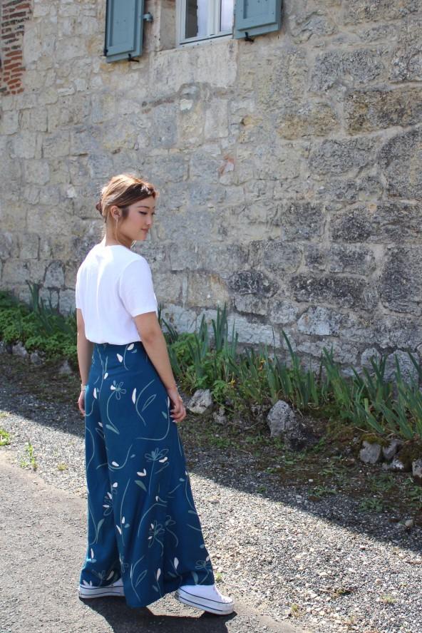 Pantalon Wrap Eglantine et Zoé en Bloom Bleu Pétrole de côté