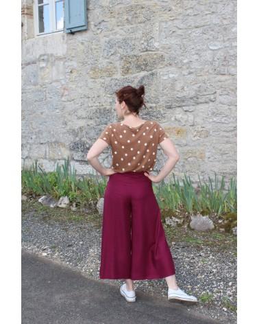 Pantalon Wrap Eglantine et Zoé en uni Mûroise de dos