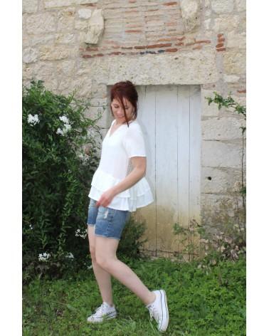 Tissu Nacre Crêpe de Viscose Eglantine et Zoe blouse Ethel pmpatterns parfaite avec short ou jean