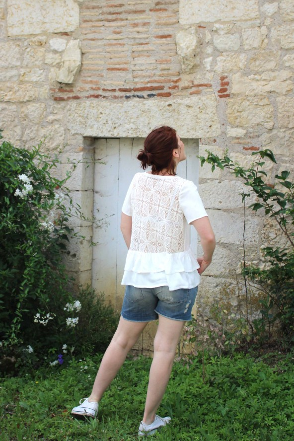 Tissu Nacre Crêpe de Viscose Eglantine et Zoe blouse Ethel pmpatterns et dos en dentelle