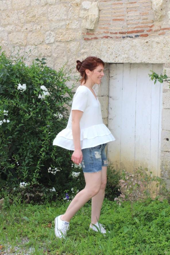 Tissu Nacre Crêpe de Viscose Eglantine et Zoe blouse Ethel pmpatterns facile a coudre