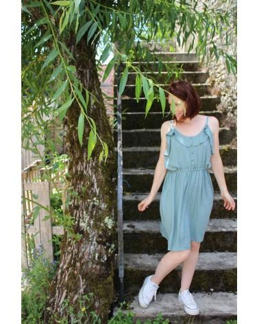 Tissu uni Vert Sauge Eglantine et Zoe Crêpe de Viscose patron robe portofino appoline pattern fluide et legere pour l'été