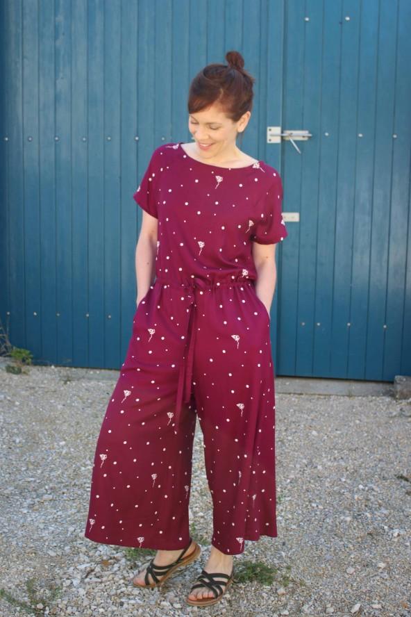 Tissu Polk Poppies Mûroise Sergé de Viscose patron combinaison Fiona Fibremood pantalon ample