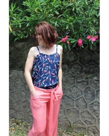 Tissu motif Avena Bleu Atlantique Eglantine et Zoe Crêpe de Viscose Top Louise de Republique du chiffon pantalon Corail assorti