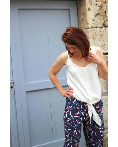 Tissu motif Avena Bleu Atlantique Eglantine et Zoe Crêpe de Viscose patron pantalon aime comme marie