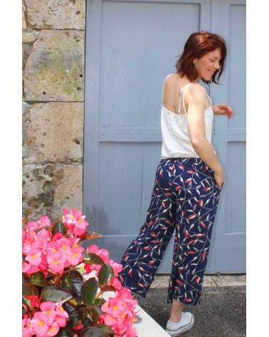 Tissu motif Avena Bleu Atlantique Eglantine et Zoe Crêpe de Viscose patron pantalon aime comme marie effet jupe culotte Palazzo