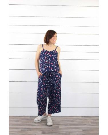Tissu Avena Bleu Atlantique créé en France Crêpe de Viscose patron pantalon aime comme marie Top Louise Republique du Chiffon