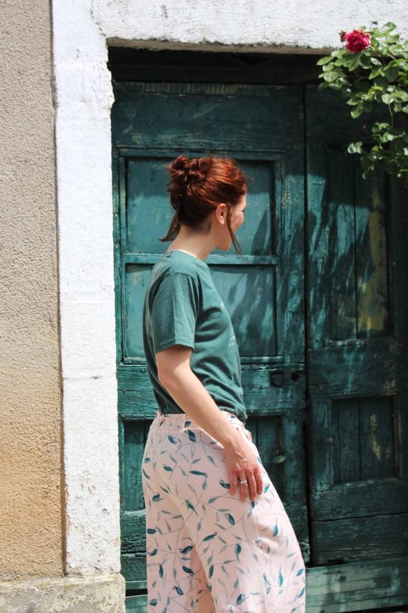 Tissu Avena Nude Eglantine et Zoe Crêpe de Viscose patron pantalon medina ceinture a nouer aime comme marie