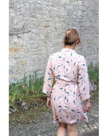 Tissu Avena Nude Eglantine et Zoe Crêpe de Viscose patron robe Estelle clematisse pattern effet robe blazer