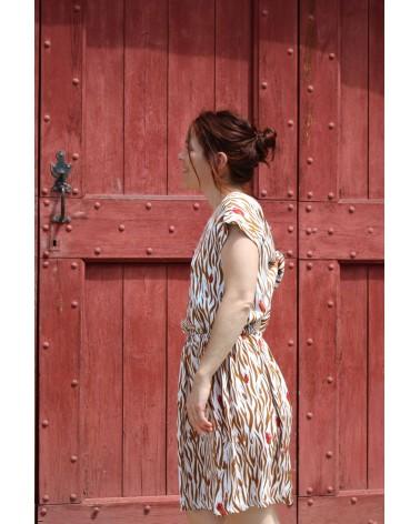 Tissu Zebra Nacre Crêpe de Viscose patron robe Irene République du Chiffon légère et confortable