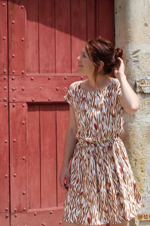 Tissu Zebra Nacre Crêpe de Viscose idéal pour coudre votre garde robe maison patron robe Irene République du Chiffon