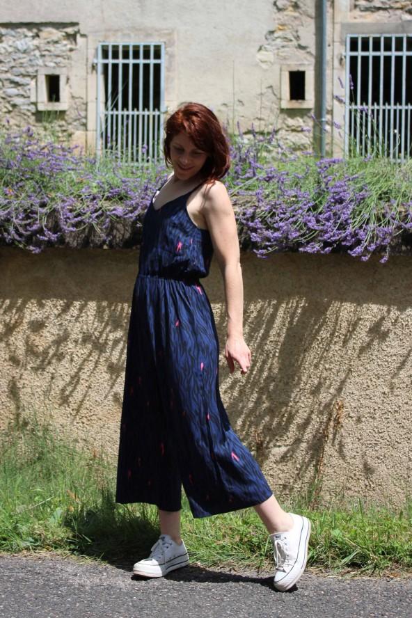 Tissu Zebra Bleu Crêpe de Viscose Eglantine et Zoé en combinaison Freja de Slow sunday paris parfait pour le printemps été