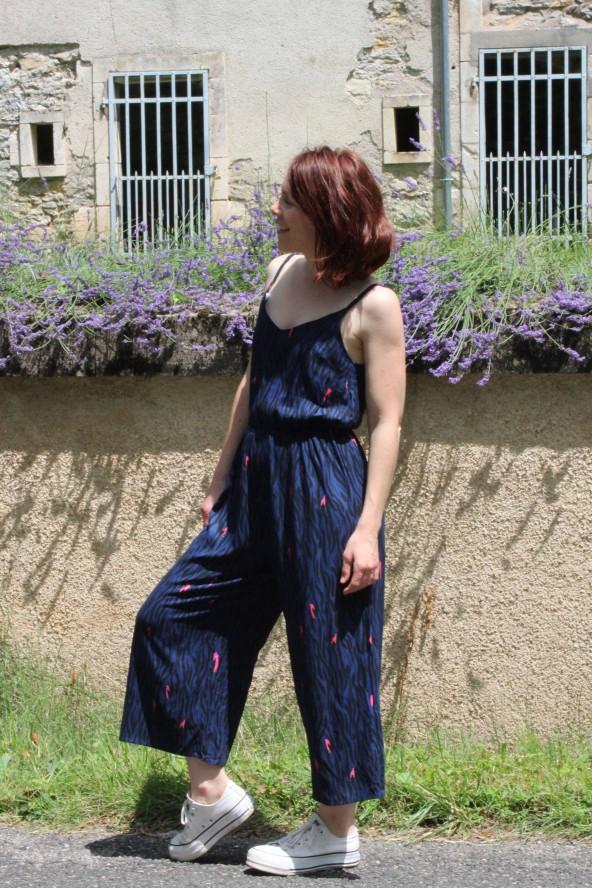 Tissu Zebra Bleu Crêpe de Viscose Eglantine et Zoé en combinaison Freja de Slow sunday paris agreable a coudre et a porter