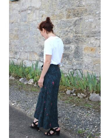 Tissu Zebra Rose Perle Crêpe de Viscose Eglantine et Zoé Pantalon Wrap patron idéal pour les débutants