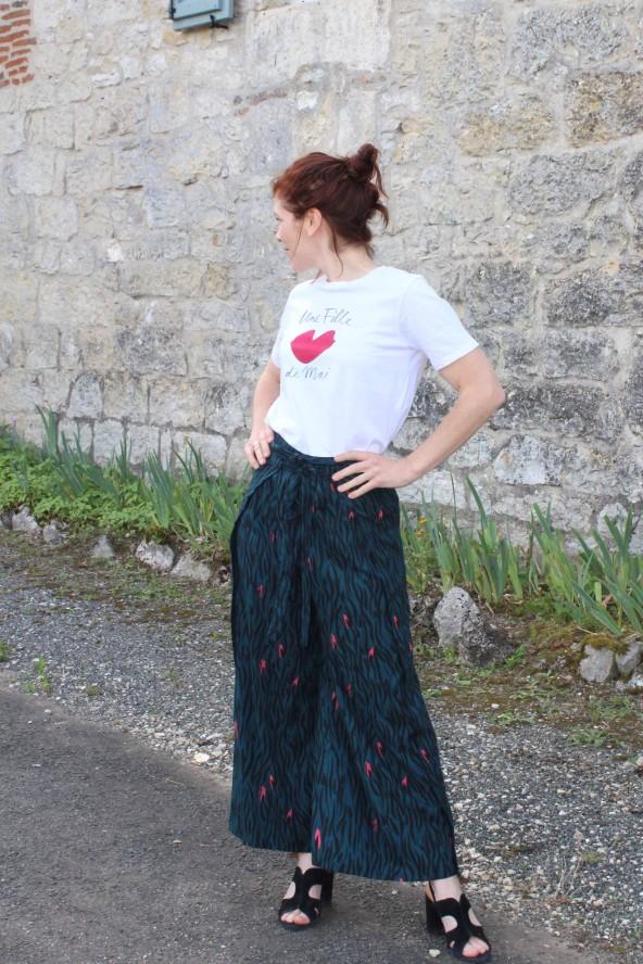 Tissu Zebra Rose Perle Crêpe de Viscose Eglantine et Zoé Pantalon Wrap patron elegant et confortable