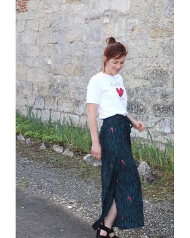 Tissu Zebra Rose Perle Crêpe de Viscose Eglantine et Zoé Pantalon Wrap patron facile a coudre, confortable