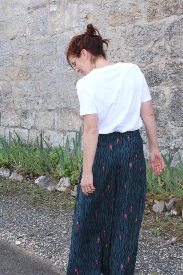 Tissu Zebra Rose Perle Crêpe de Viscose Eglantine et Zoé Pantalon Wrap patron agreable a coudre et a porter