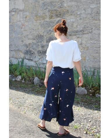 Tissu Windy Bleu Marine Crêpe de Viscose Eglantine et Zoé Pantalon Wrap patron parfait pour l'été