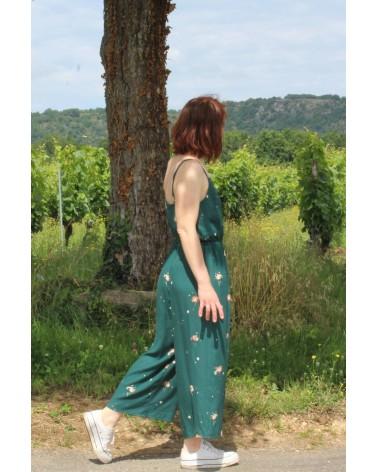 Tissu Windy Vert Sapin Crêpe de Viscose Eglantine et Zoé patron Combinaison Freja Slow sunday Paris facile a coudre
