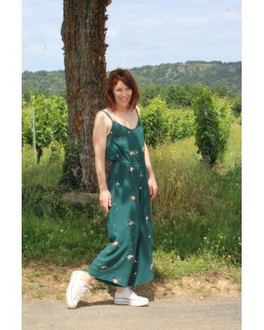 Tissu Windy Vert Sapin Crêpe de Viscose Eglantine et Zoé patron Combinaison Freja Slow sunday Paris ample et confortable