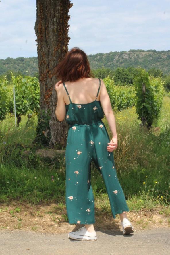 Tissu Windy Vert Sapin Crêpe de Viscose Eglantine et Zoé patron Combinaison Freja Slow sunday Paris elastique au dos
