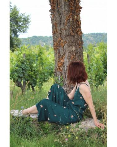 Tissu Windy Vert Sapin Crêpe de Viscose Eglantine et Zoé patron Combinaison Freja Slow sunday Paris ideale pour l'été
