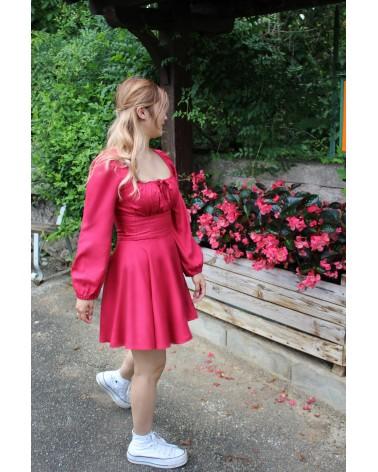 Tissu Sergé de Viscose Rose Grenadine Eglantine et Zoe Corset Agnes Belene Paris patron robe cintrée