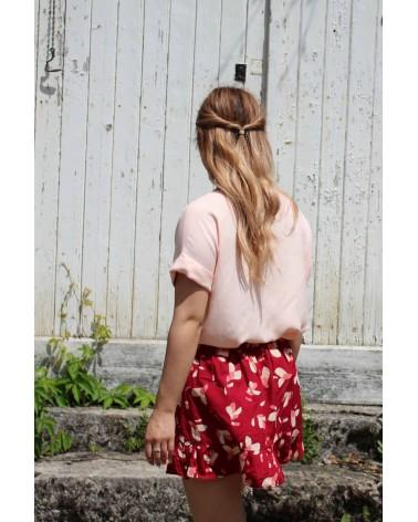 Tissu Nude Eglantine et Zoe Crêpe de Viscose patron blouse vikki anna rose pattern jupe a volants petali rouge