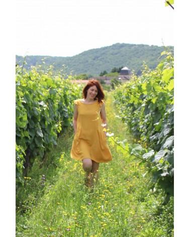 Tissu Uni Jaune Soleil Crêpe de Viscose patron de couture robe avec poches