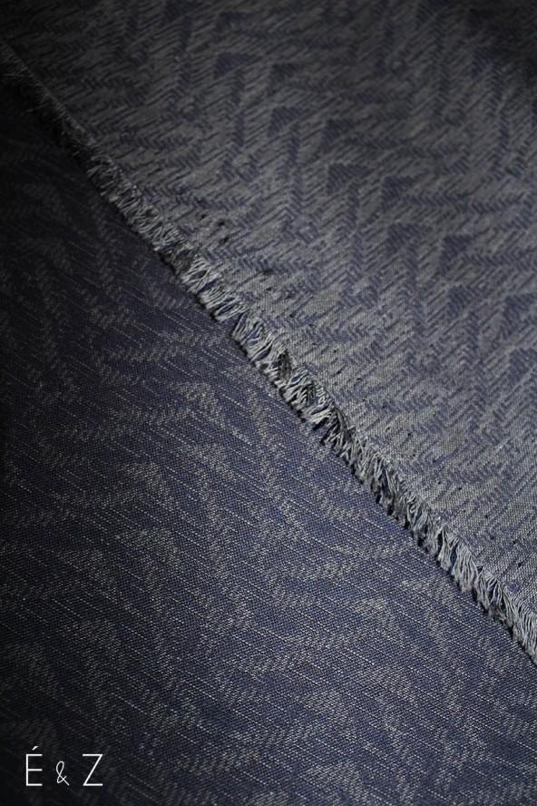 Coton Fougères Marine et gris
